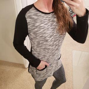 Gap Women's Grey & Black Sweater W/ Pockets EUC